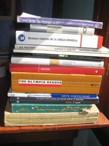 Book Stack, collection from South America, Buenos Aires, Argentina and Valparaiso, Chile